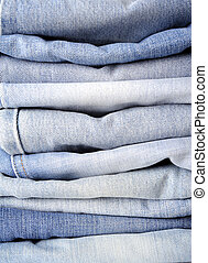 Stack of blue jean
