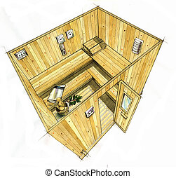 Sauna room - Watercolor hand-made illustration of a wooden...