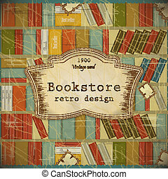 Vintage Book Background in scrapbooking style - Bookcase...