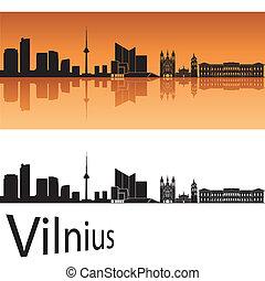 Vilnius skyline in orange background in editable vector file