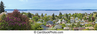 View over neighboorhood in West Seattle WA USA