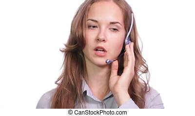 Call centre Medium - A girl working in a call centre White...