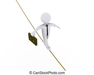 Businessman is walking on tightrope - 3d businessman is...