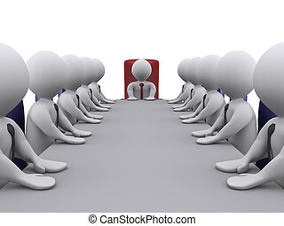Boss and employees in a meeting - 3d businessmen in a...