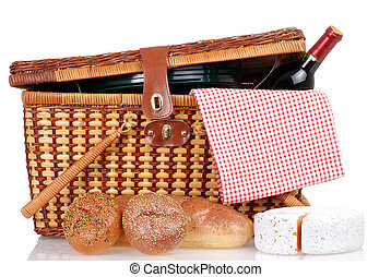 Picnic basket with bread cheese