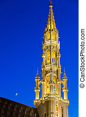 Brussels, Belgium - Detailed view of Grand Place and moon...