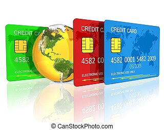 credit cards  - 3d illustration of credit cards