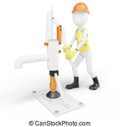 3d man with manual water pump on white background