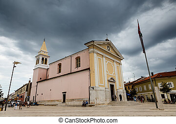 Bell Tower and Porec Church in Croatia