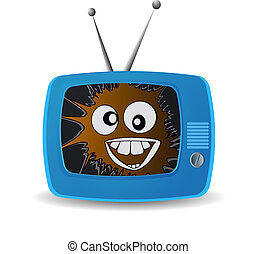 Blue TV. Broadcast a good mood. crazy smile. vector...