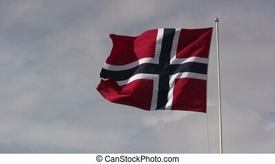 Fluttering Norwegian flag - Medium shot of the Norwegian...