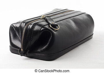 Black leather bag - Mans black leather cosmetic toiletry...