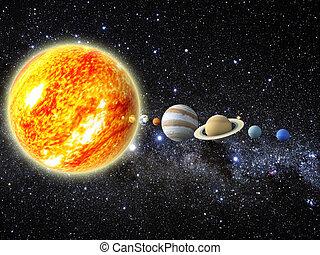 Solar system - Illustration of our solar system. - 3D REnder...
