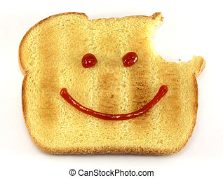 Bread with happy face and bite - Single piece of toasted...