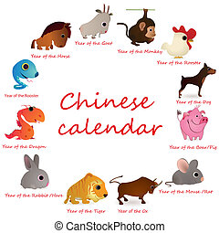 Chinese calendar with 12  animals