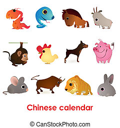 Set of twelve funny animals of the Chinese calendar