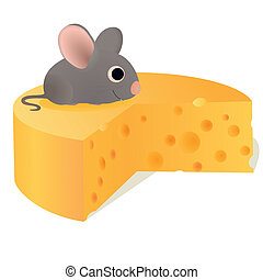 Funny mouse on big cheese
