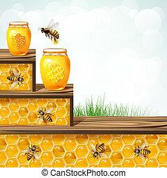 Szkło, słój, pszczoły, plastry miodu