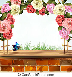 Brick wall with roses - Brick wall with frame of roses
