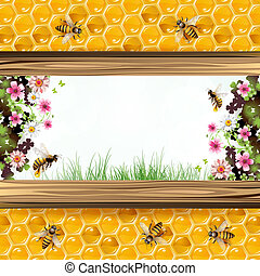 Bees and honeycombs - Landscape frame with flower, bees and...