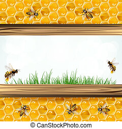 Landscape frame with bees and honeycombs