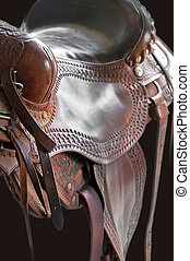 Western saddle - Close up detail of leather work on a...