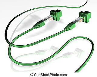 network - 3d illustration of RJ45 Jacks and network