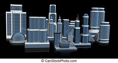 3d skyscraper - 3d rendered illustration of a futuristic...