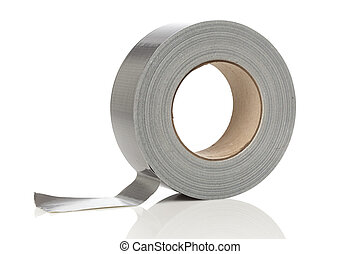 Silver duct tape on a white background