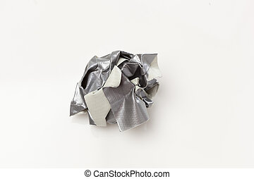 Crumpled Silver duct tape - Silver duct tape on a white...