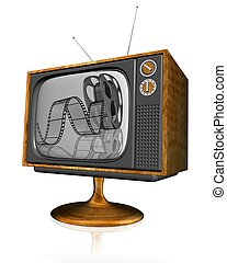 3d television - 3d illustration of television