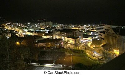Dunedin City night lights - Dunedin, New Zealand u2013 May...