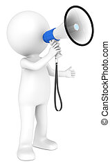 Megaphone. - 3d little human character with a white and Blue...