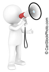 Megaphone. - 3d little human character with a white and Red...