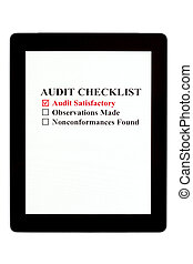 Audit Checklist on Digital Tablet