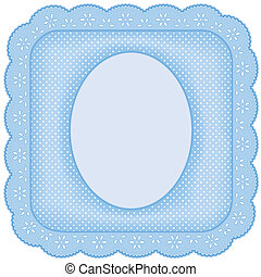 Picture Frame, Blue Eyelet Lace