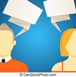Talking people with speech clouds. Vector illustration
