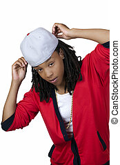 Young Black Woman Baseball Cap Red Shirt - Young African...