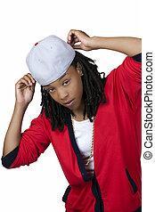 joven, negro, mujer, beisball, gorra, rojo, camisa