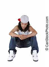 Young Black Woman Sitting Jeans and Baseball Cap - Young...