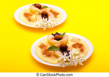 Pears With Chocolate And Vanilla Cream