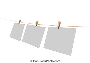 Photo paper attach to rope with clothes pins