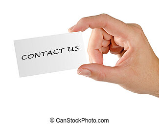 Hand with card CONTACT US