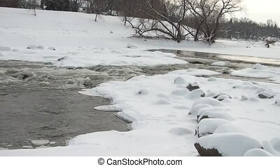 Water Rushing in Cold River - Icy cold water audibly flowing...