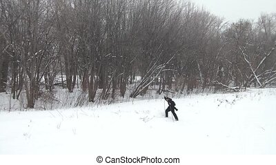 Cross Country Skiing on River Bank