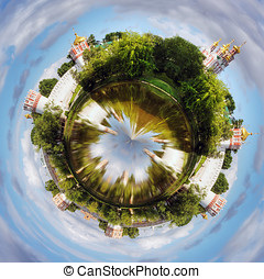 spherical panorama Novodevichy convent in the early morning...