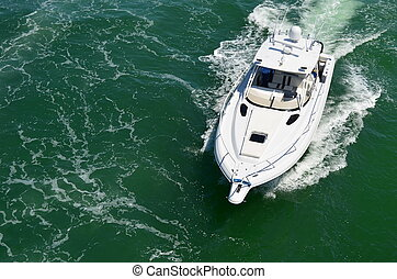 Sport Fishing Boat - an angled overhead view of a sport...
