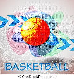 baloncesto, cartel, publicidad