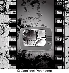 cute retro tv vector, Film cinema camera in film strip frame
