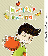 Happy teenager present healthy food - Healthy food, cartoon...